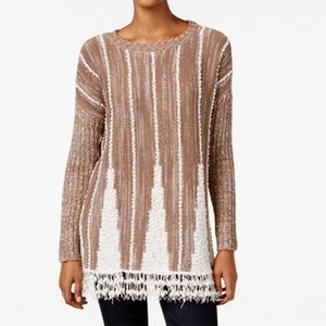 Style & Co. Fringe Hem Sweater (GREY)